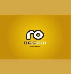 Ro r o alphabet letter combination digit white on vector