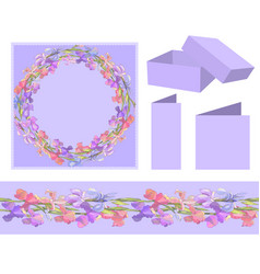 romantic wreath and seamless border with irises vector image