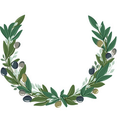 Round wreath with olive leaves and olives vector