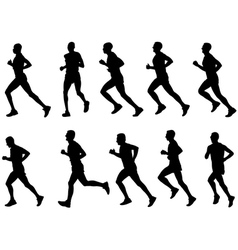 runners silhouettes vector image