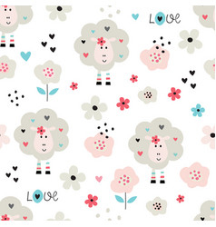 Seamless pattern with cute sheep and flowers vector