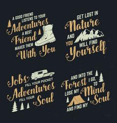 Set adventures inspirational quote badges vector
