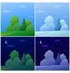 set forest landscapes vector image