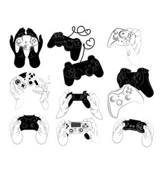Set joysticks for console collection of vector