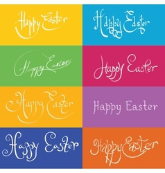 set of hand drawn typograhy Happy Easter vector image