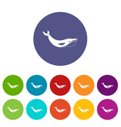shark fish icons set flat vector image