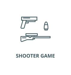 shooter game gun rifle bullet line icon vector image