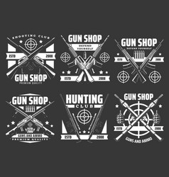 shooting club hunting and gun shop icons vector image