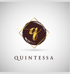simple elegance initial letter q gold logo type vector image