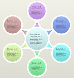 Six part color business infographics template vector image