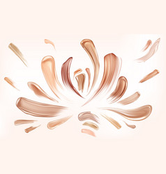 skin foundation smear brush strokes beauty makeup vector image