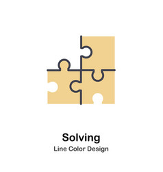 Solving lineal color icon vector