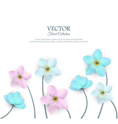 Spring white flowers with stems poster vector