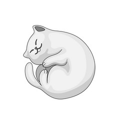 stylized cartoon white cat vector image