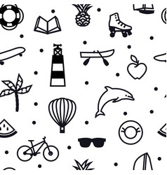 Summer icons color seamless pattern black line vector