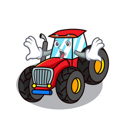 surprised tractor mascot cartoon style vector image