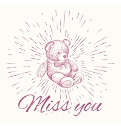 Teddy bear and vintage sun burst frame Miss you vector