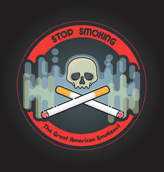 The great american smokeout crossed cigarettes vector