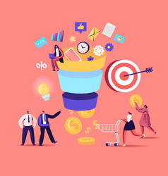 tiny characters put money into huge sales funnel vector image