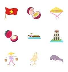 Vietnam icons set cartoon style vector