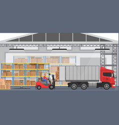 Warehouse interior with workers arranging vector