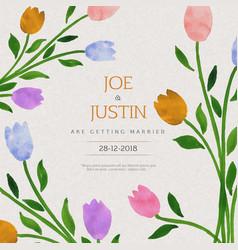 Watercolor floral wedding invitation card vector
