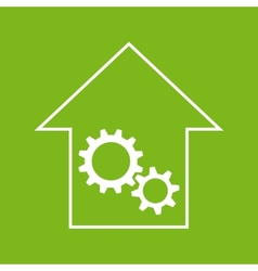 White and green house with gear wheels vector image