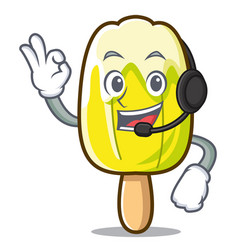 With headphone lemon ice cream mascot cartoon vector