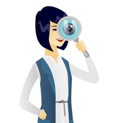 young asian business woman with magnifying glass vector image