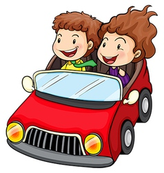 A girl and a boy riding in the red car vector image vector image
