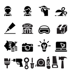 Diy workshop craftsman craft icon set vector