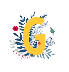 Floral alphabet letter g vector