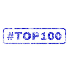 hashtag top100 rubber stamp vector image vector image