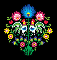 polish folk pattern with roosters - floral vector image vector image