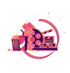 walk to cinema with soda and popcorn vector image