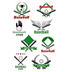 Baseball game sporting emblems and symbols vector image vector image