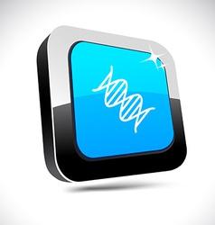 Dna 3d square button vector