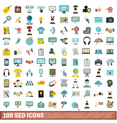 100 seo icons set flat style vector image vector image