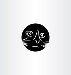black cat face circle icon symbol vector image