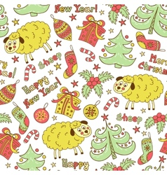 Christmas seamless pattern with animals sheep vector image vector image