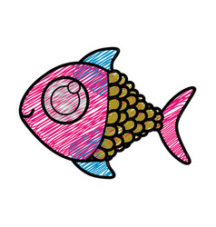 color pencil drawing of fish with big eye vector image