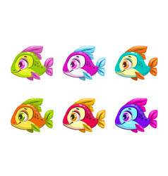 colorful cartoon fishes set vector image vector image