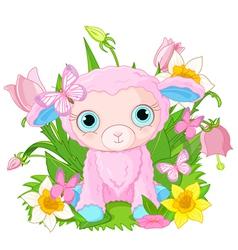 Cute cub sheep vector image