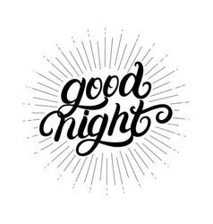 good night hand written lettering vector image