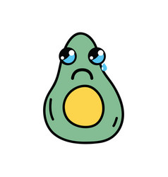 kawaii cute crying avocado fruit vector image vector image
