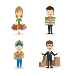 People shopping characters vector image vector image
