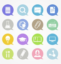 Education web icons set in color speech clouds vector image vector image