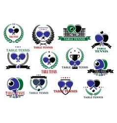Table tennis sporting icons and labels set vector image vector image