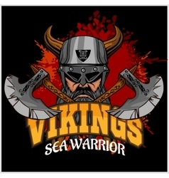 Viking warrior and crossed axes vector image vector image
