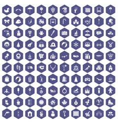100 happy childhood icons hexagon purple vector